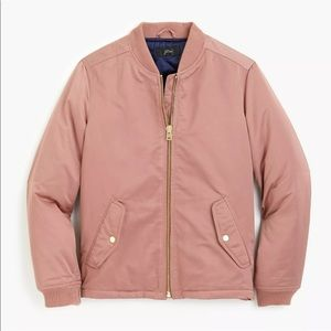 J Crew blush pink mauve Side Zip bomber jacket